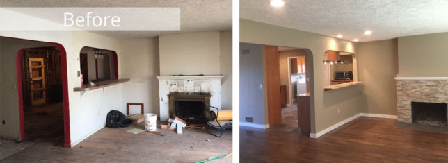 Living Room Kitchen Remodel Before & After