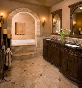 Classic-Master-Bath-soaker-tub-travertine-tile