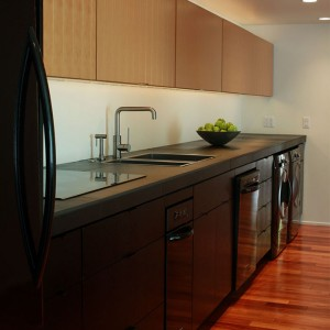 Modern galley kitchen remodel with black cabinets