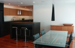Modern-galley-kitchen-remodel-with-black-custom-kitchen-cabinets